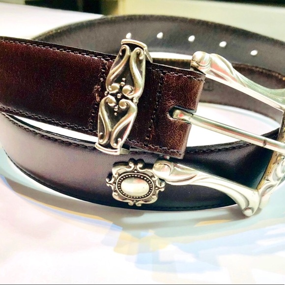 """Fossil Accessories - Fossil 32"""" Brown Leather Belt With Silver Accents"""